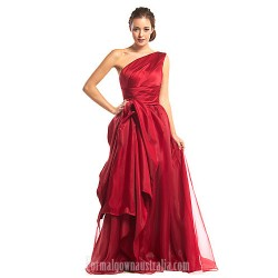 Australia Formal Dress Evening Gowns Burgundy A Line Sexy One Shoulder Long Floor Length Organza Satin